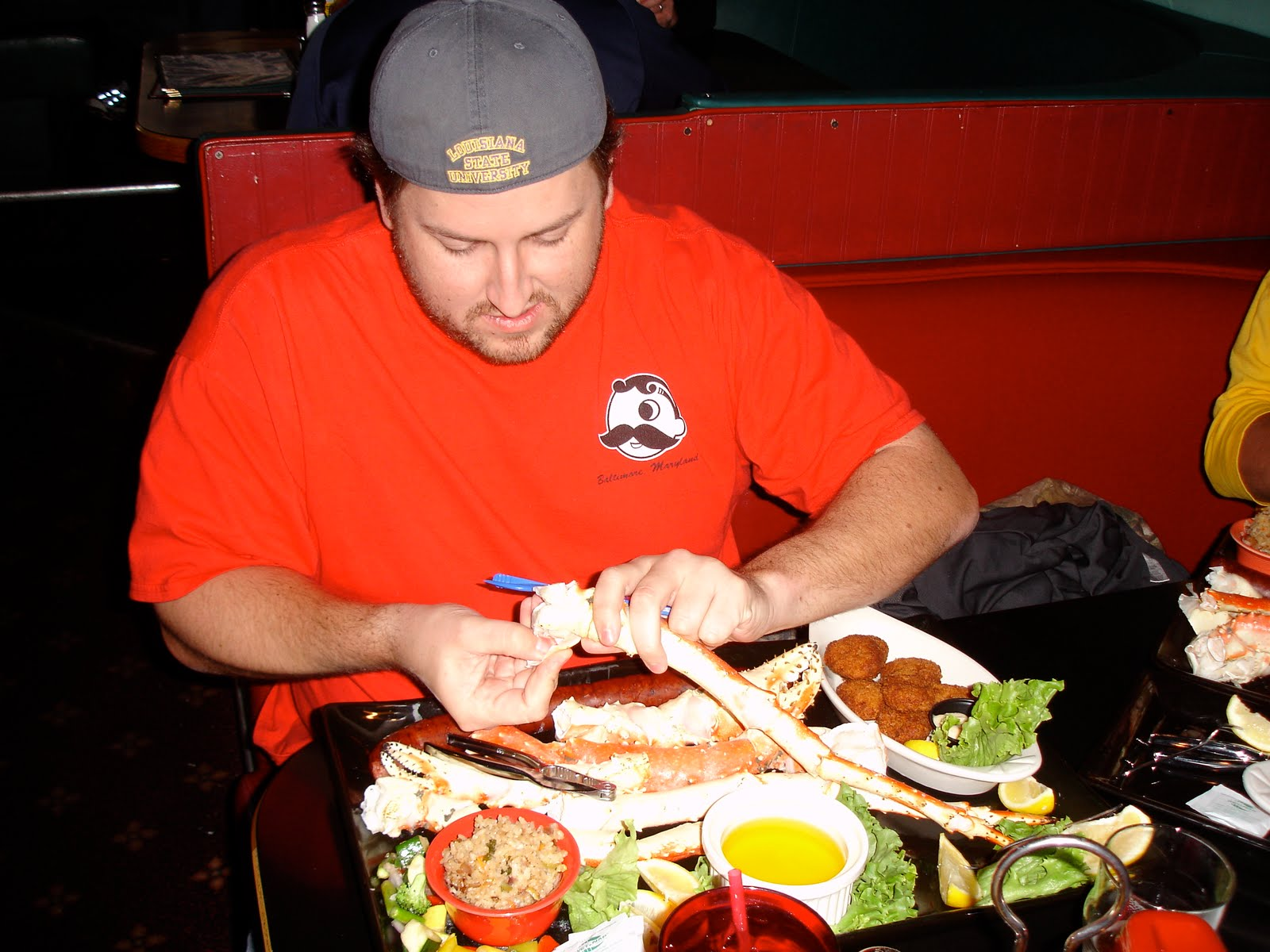 Jay digs into the Alaskan King Crab legs at Humpys
