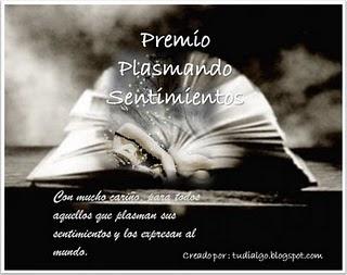 PREMIO PLASMANDO SENTIMIENTOS !!!