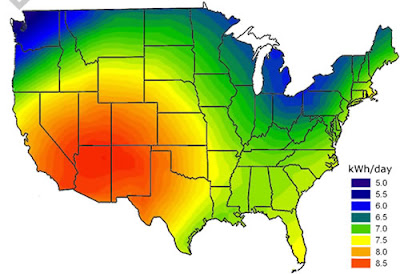 Solar Energy Map Best states for solar power