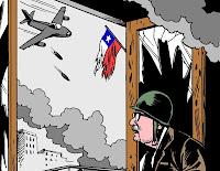 El 11-9 desde el Palacio de la Moneda, según el plumín de Carlos Latuff.