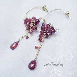 gold filled garnet handmade jewelry earrings necklace bracelet topaz quartz tourmaline pearl wedding bridal rose wire wrapped sterling silver
