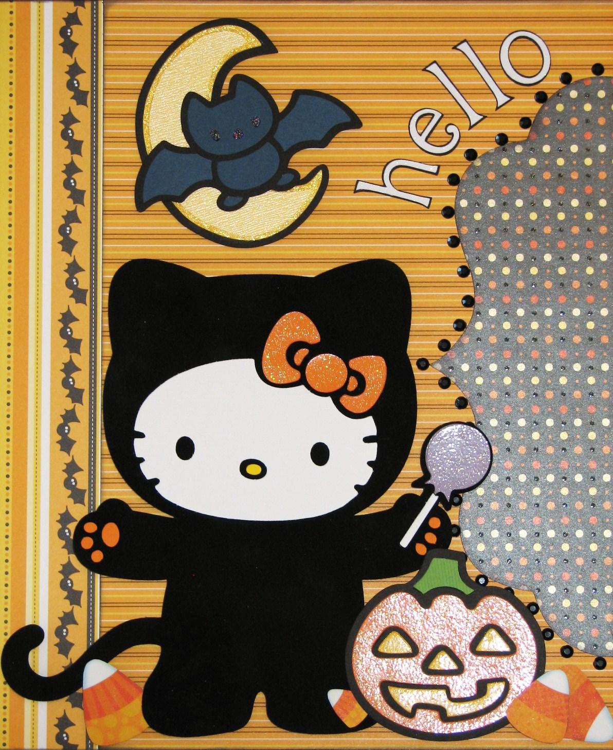 Hello kitty scrapbook ideas -  Hello Boo Kitty Halloween Scrapbook Pages