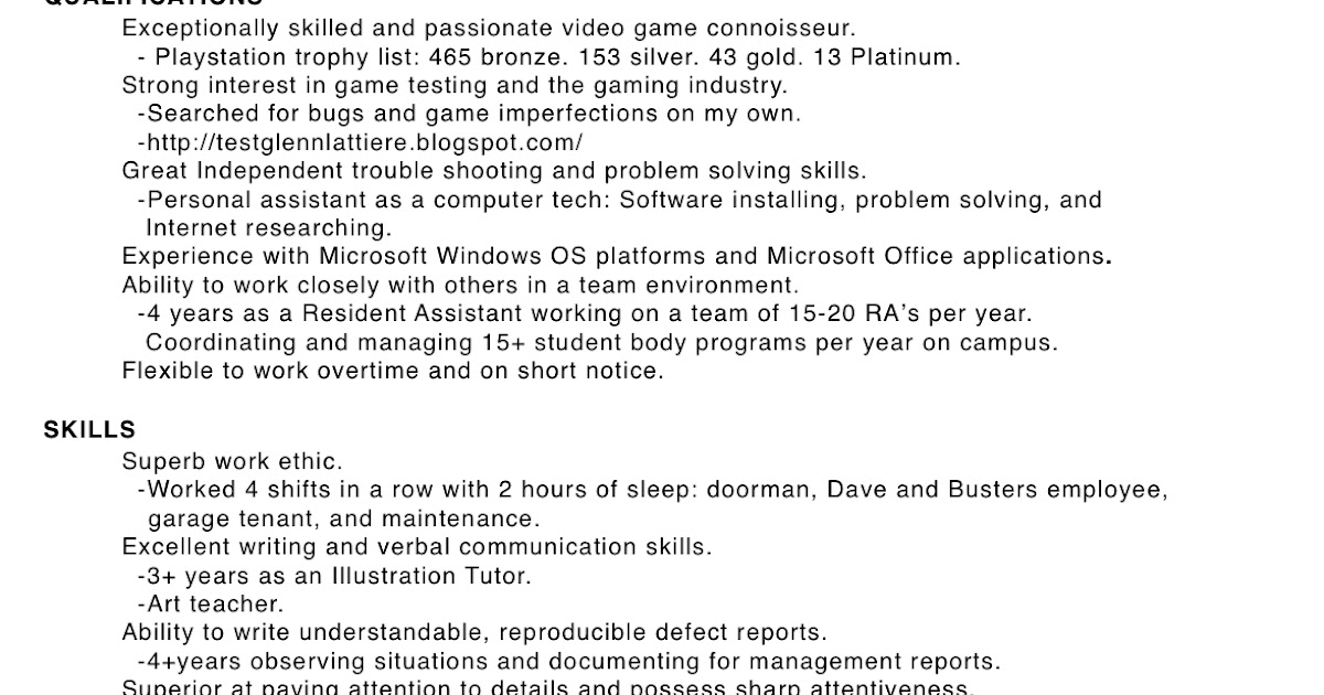 game tester cv - Military.bralicious.co