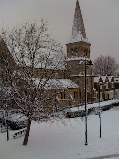 snow+covered+church+in+London+Islington