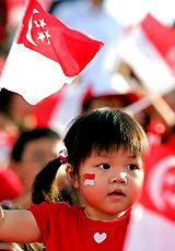 singapore+national+day+flag+girl