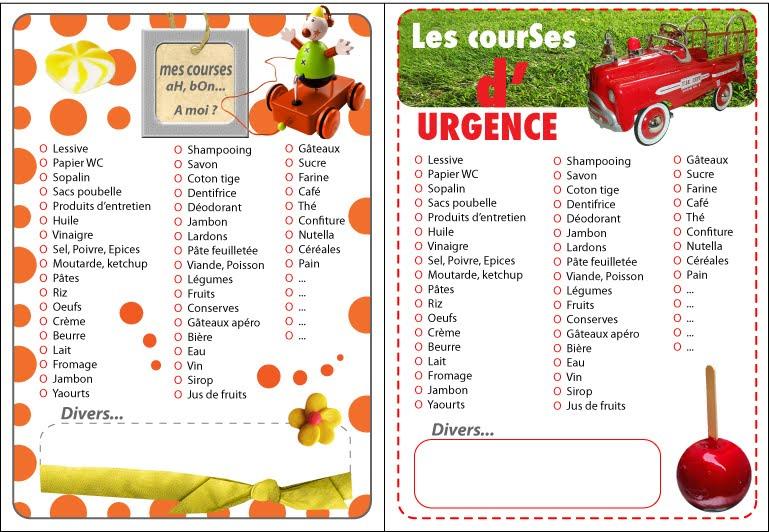 Relativ Free Imprimables Liste de Course - Le Blog des Dames ZP49
