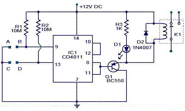 Circuito Nand : Electronica interruptor por tacto usando flip flop cd