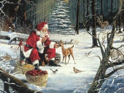Božićne slike čestitke djed Mraz pozadine za desktop free download e-cards Christmas Santa Claus