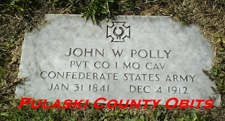 Headstone of John W. Polly (1841-1912), Confederate States Army.  Photo by Pulaski County Obits