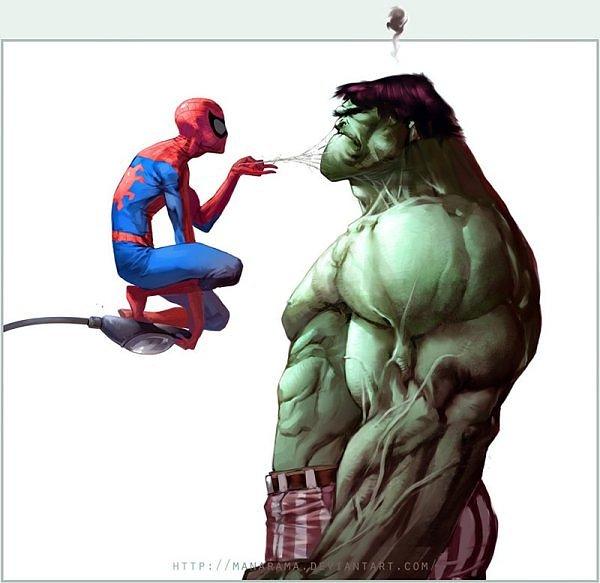 Qué estará intentando hacer el hombre araña a Hulk? ¿Maquillarlo ...