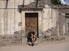 Nikki resting in dusty street