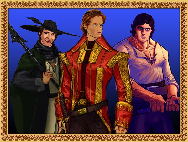 actors faces slapped onto Rand al'Thor, Perrin Aybara, Matrim Cauthon, the main characters from The Wheel of Time