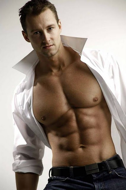 muscular man with his shirt open