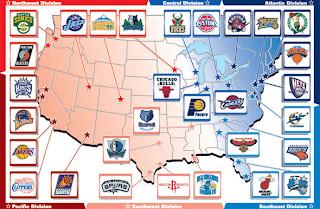 USA map & NBA Teams | A Hoopster\'s Memo