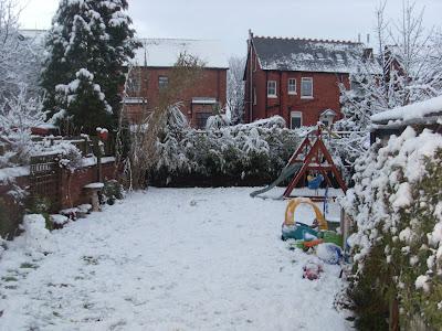 A British snowy garden