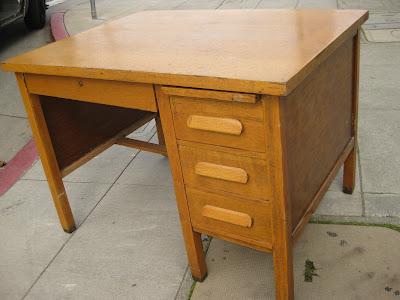SOLD - Small Oak Teacher's Desk - $65 - UHURU FURNITURE & COLLECTIBLES: SOLD - Small Oak Teacher's Desk - $65