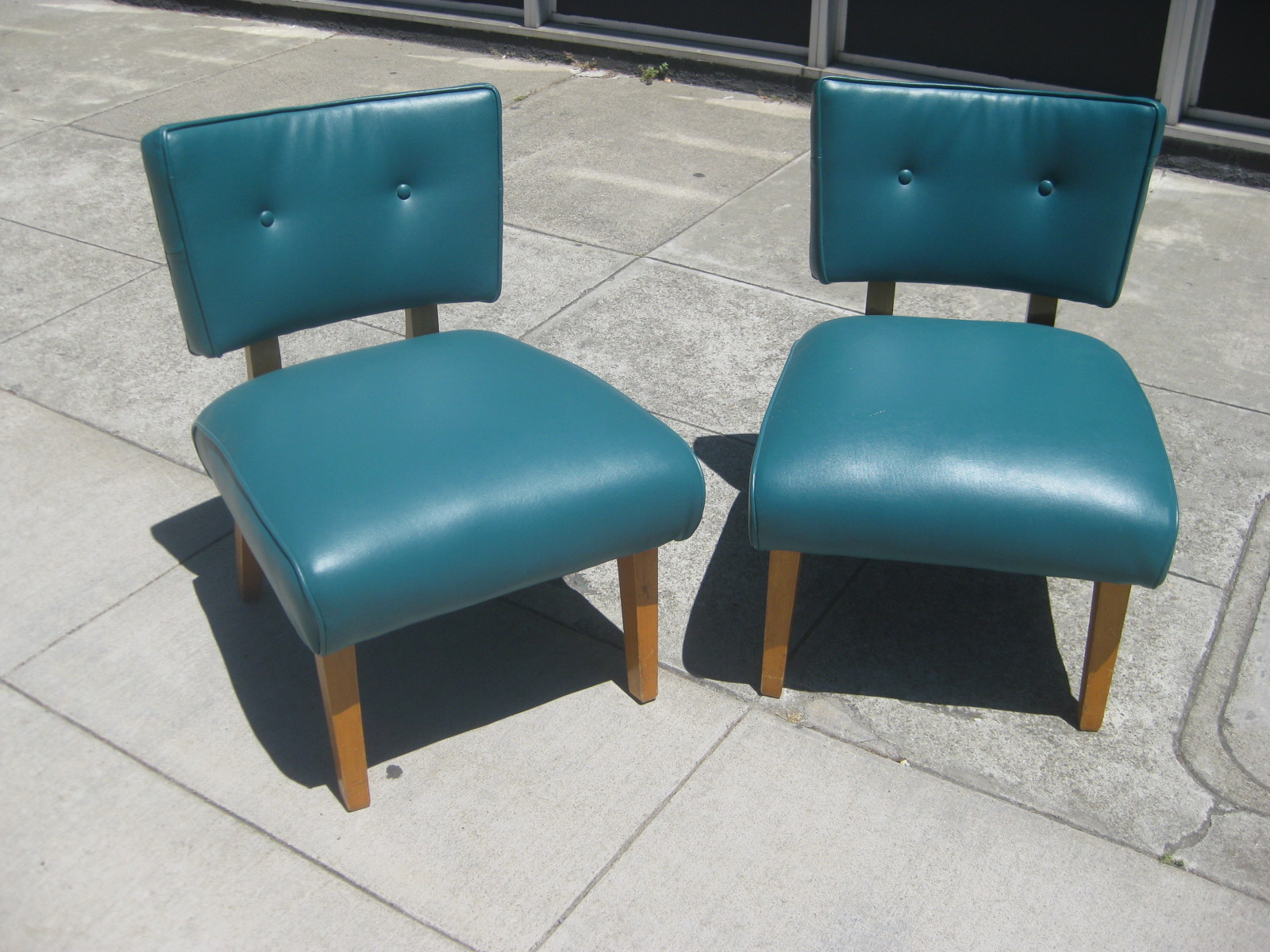 High Quality SOLD   Teal Retro Vinyl Chairs   $100