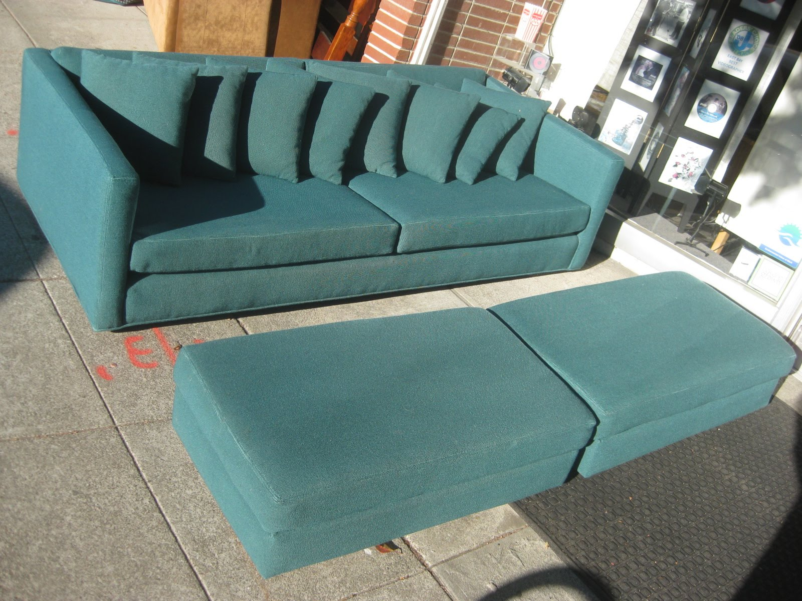 SOLD   Turquoise Sofa + 2 Ottomans   $125
