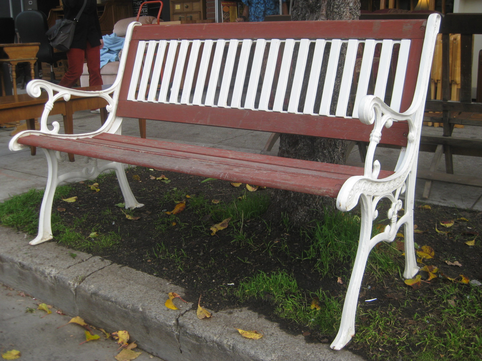 Uhuru Furniture Collectibles Sold Iron And Redwood Bench 90
