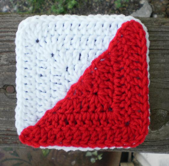 The Left Side Of Crochet Solid Corner Half Square