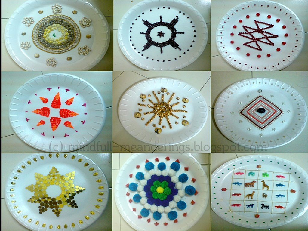 Thermocol aarthi plates artsy craftsy mom for Aarthi plates decoration