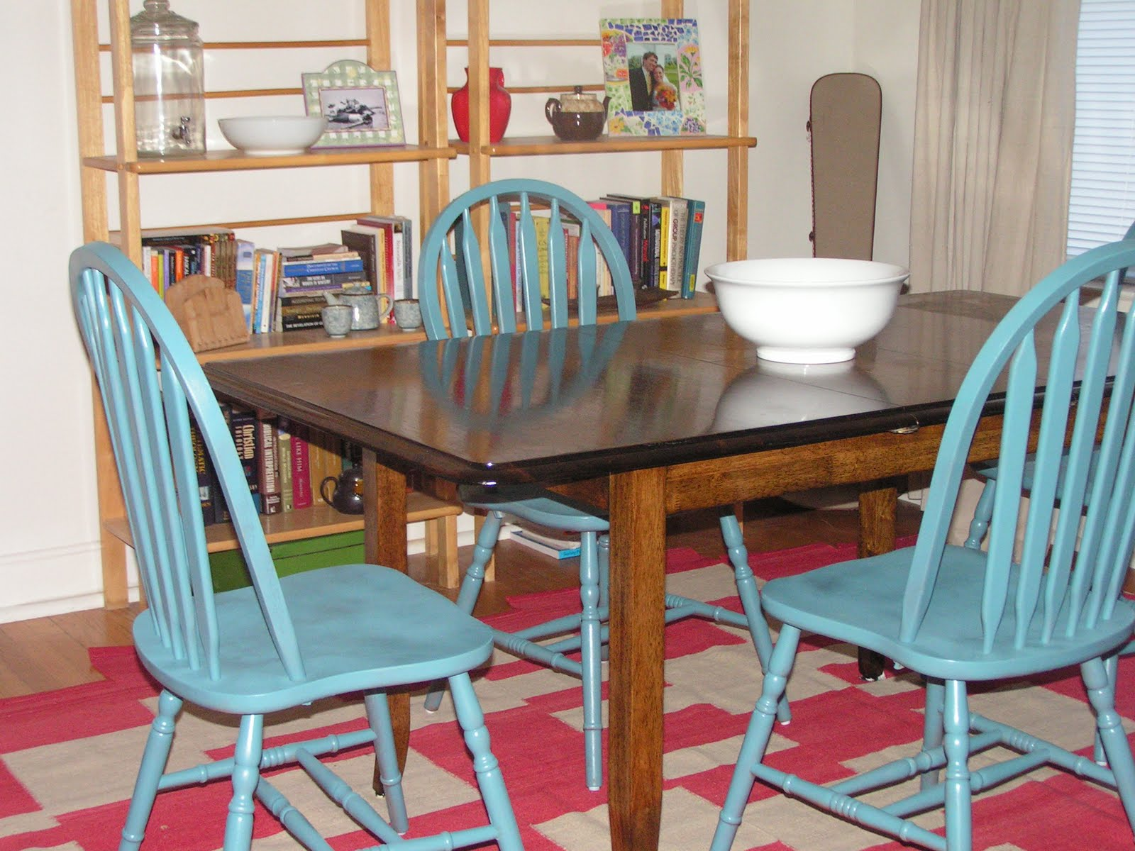 Homemade and colorful refurnishing dining room table chairs for Colourful dining table and chairs