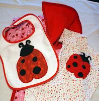 ladybug trio blanket bib onesie