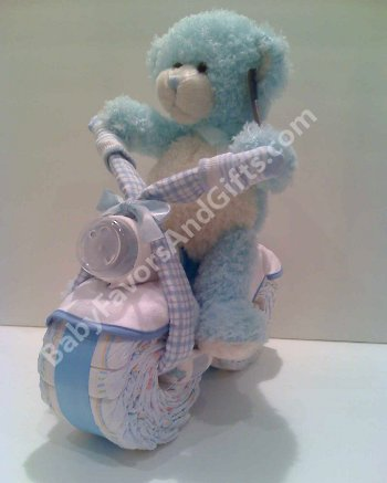 favors bear on bicycle diaper cake centerpiece baby shower gift ideas