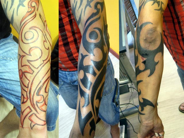 Tattoo Avant Bras Maori. cet avant bras tribalisé,