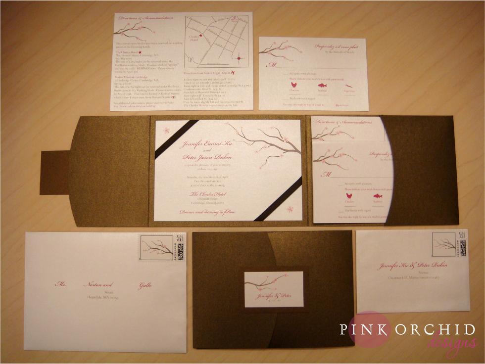 Wonderful Cherry Blossom Pocketfold Wedding Invitations