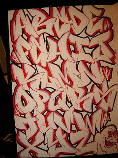 Graffiti Alphabet Letter Fonts A-Z Black Red Colour