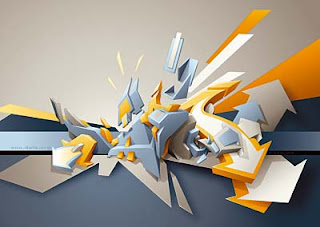3D Digital Graffiti Alphabet Triple Color