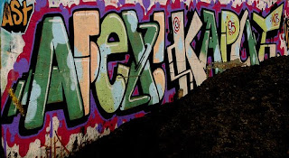 Graffiti Alphabet Tagging with Bubble Fonts Style