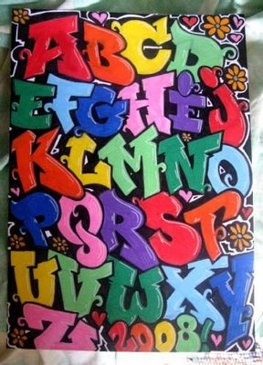 Graffiti Tattoo Designs on Graffiti Bubble Letter A Z Colorful Jpg