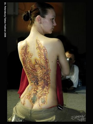 Phoenix Tattoo Designs in Back 4