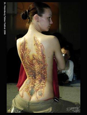 Phoenix Tattoo Designs in Back 4