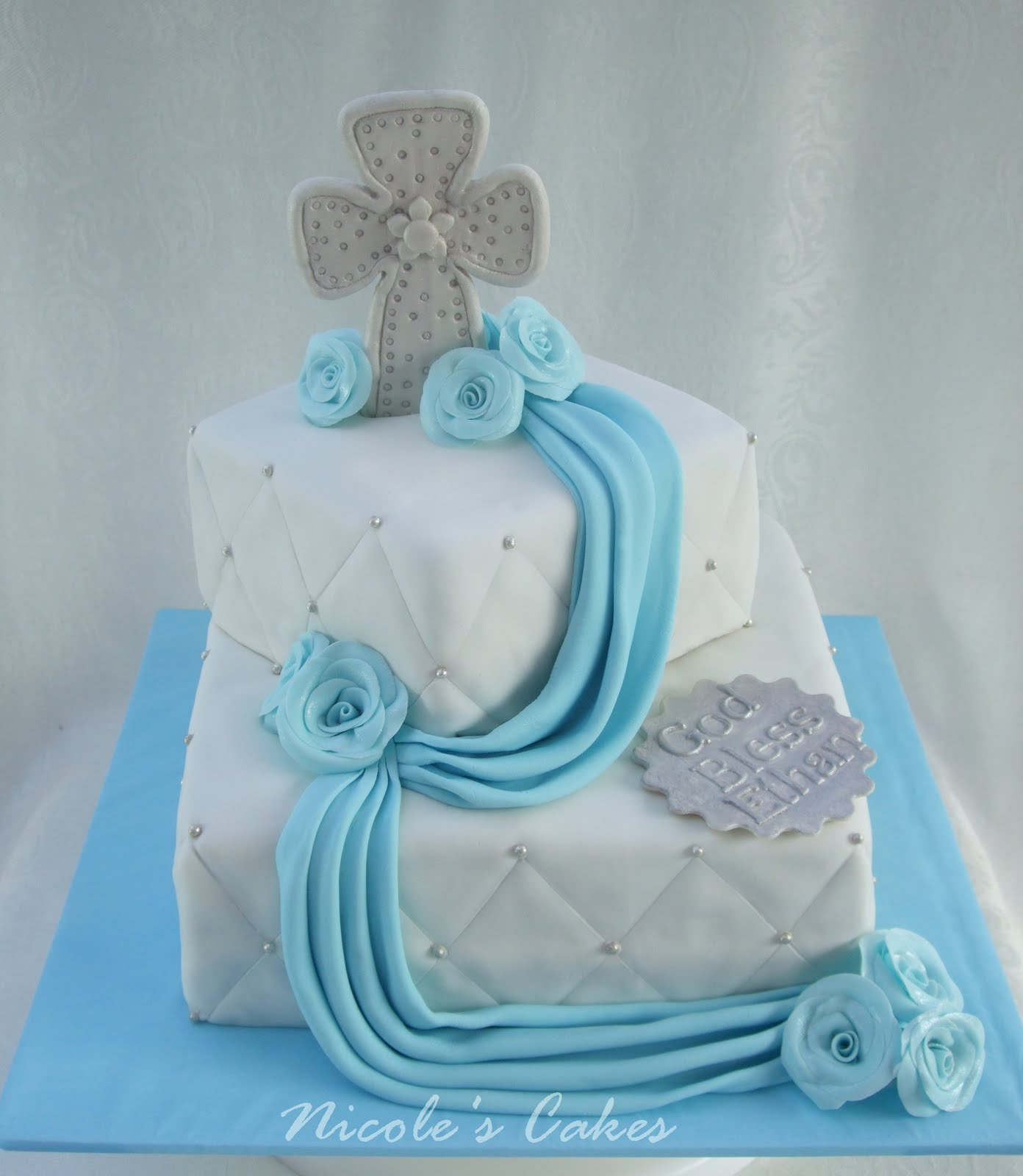 On birthday cakes christening baptism cake for a baby boy for Baby dedication decoration