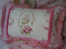 ~Pink Rose Barkcloth & Ticking~