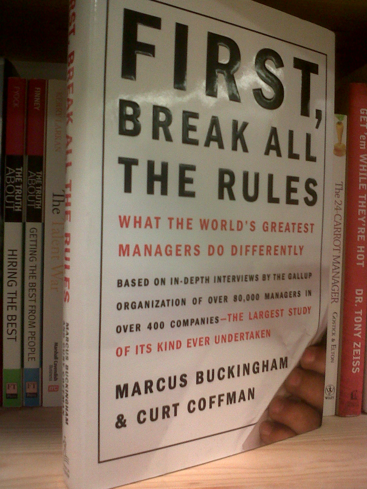 first break all the rules book report Great managers routinely break all the rules, disregarding most conventional wisdom this has been proven based on in-depth interviews with more than 80,000 managers by the gallup organization there are 12 questions used to assess workplace quality quality workplaces will attract and keep the.