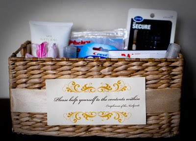 Ally in wedding wonderland bathroom baskets for guests for Bathroom basket ideas for wedding