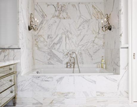 The Granite Gurus Vintage Style Calacatta Gold Marble Bathroom