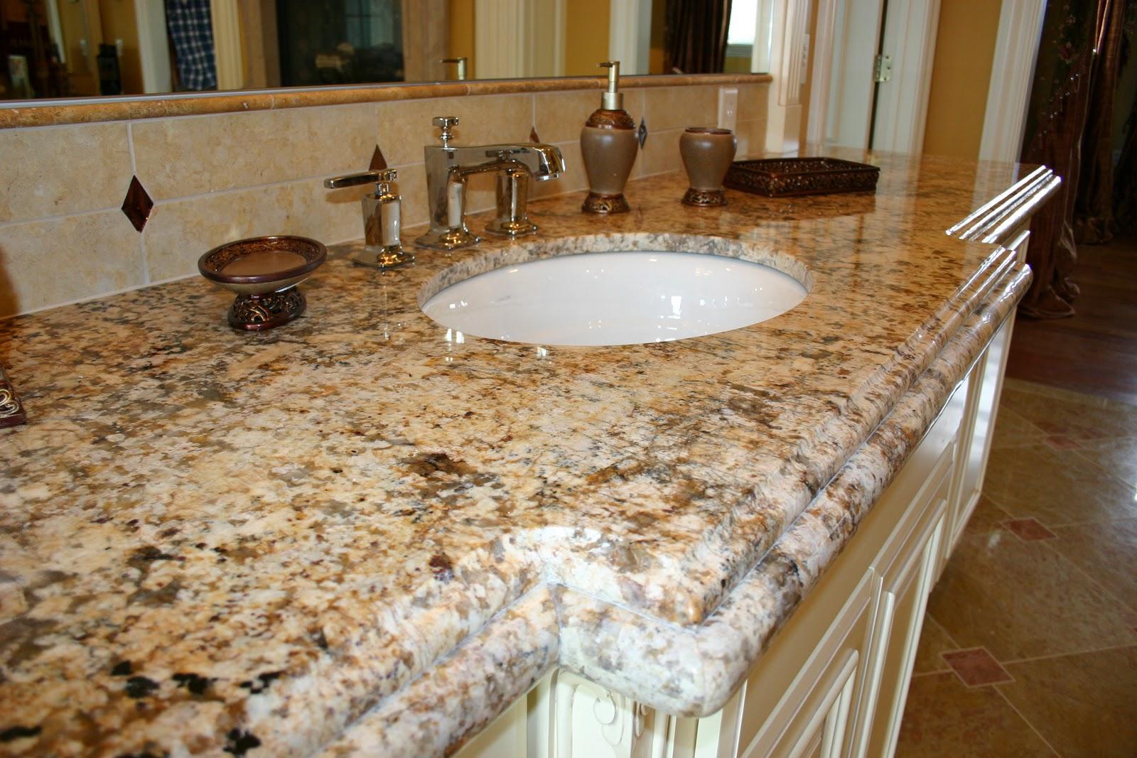Granite bench tops granite countertop granite sinks granite - The Granite Gurus Beautiful Master Bathroom With Golden