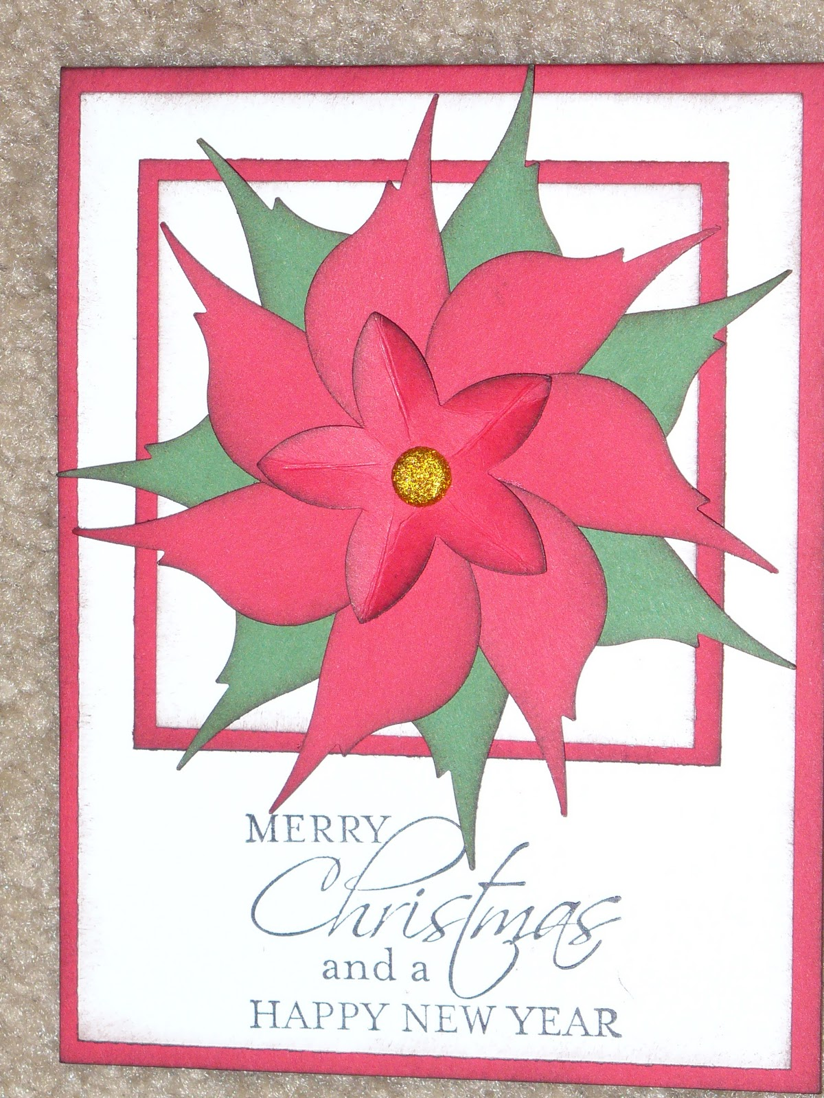 Creations by chris bird punch poinsettia card for Classic home designs collierville tn