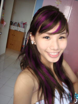 black and purple scene hair. Blonde: http://www.scene-hair.