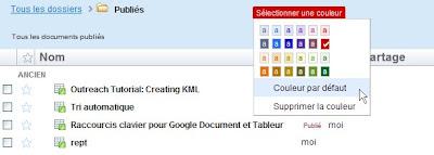 dossier en couleur dans google docs