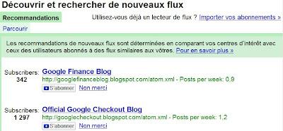 recommandations dans google reader