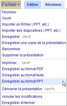 google presentations enregistrer format ppt