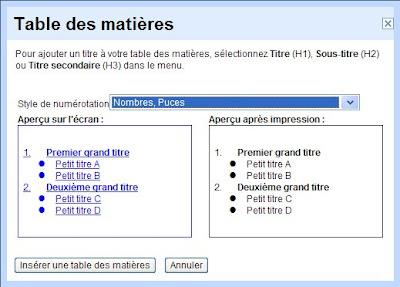 table des matieres dans google docs