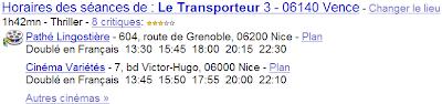 Les OneBox Google cinéma dans Google France