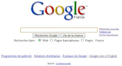 La page d'accueil de Google nouvelle version
